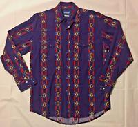 Vintage Wrangler Western Mens Purple Southwestern Aztec Shirt Medium