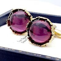Vintage Amethyst Purple Glass Cabochon - 15mm Round Goldtone Crown Cufflinks