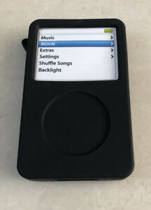 Apple iPod Classic 30 40 60 GB Silicone Case Cover in Black with Strap NEW