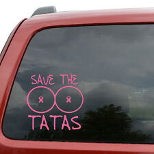 """Save The Tatas Breast Cancer Funny Car Window Vinyl Decal Sticker- 6"""" Wide White"""