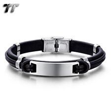 TT Black/Brown Leather 316L S.Steel ID Plate Wristband Bracelet (BR301) 2019 NEW