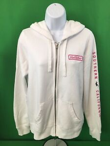 Hollister Full Zip Hoodie Sweatshirt Jacket Womens Sz Medium White Pink Logos