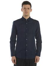 Camicia Daniele Alessandrini Shirt Lino Uomo Blu C1657R12143802 23
