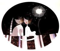 Große Glas Schale Rosina Wachtmeister Goebel handgemacht 36cm Serafina & Bianca