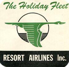 Vintage Airline Luggage Label RESORT AIRLINES Holiday Fleet  flying goose