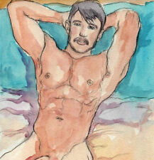 ORIGINAL MALE NUDE Watercolor -MIKE- by GERMANIA