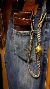 Handmade Stainless Steel Wallet Chain With Skull Hook Snake Box Chain Brass