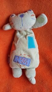"""Mamas & Papas Cat Soft Toy Rattle Baby soft toy 9"""" Green Courdroy"""