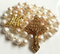 GOLD AAA 9-10mm Real Pearl NECKLACE ROSE ROSARY & CROSS CATHOLIC NECKLACE GIFT