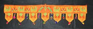 Indian Handicraft Vintage Ethnic Traditional Toran Door Valance Green Leaf Motif
