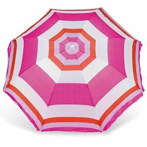 Parasol Beach Sun Shade Umbrella Camping Picnic Garden Adjustable Pole UPF50+