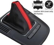 BLACK & RED STRIPE TOP GRAIN LEATHER MANUAL GEAR GAITER FOR AUDI A4 B8 08-15