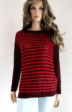RINASCIMENTO femmes pull tricoté Mélange de laine S M 36 38 rouge bordeaux