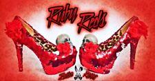 Red Skull Tacones Cuña Lentejuelas Personalizado Talla 3 4 5 6 7 8 Baja Navidad Mediados de boda