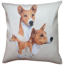 More details for basenji group breed of dog cotton cushion cover - perfect gift
