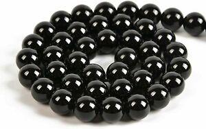30PCS Round Natural Black Obsidian Gemstone Loose Beads 6mm