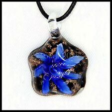 Fashion Women's Flowers lampwork Murano art glass beaded pendant necklace #N273