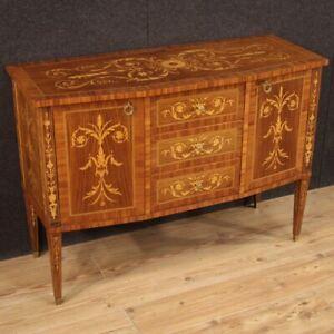 Credenza mobile comò in legno intarsiato stile antico Luigi XVI salotto 900