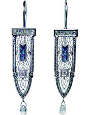 ART DECO European Diamond French Sapphire 14K Gold Filigree Princess Earrings
