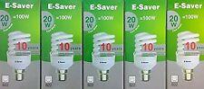 5x E-Saver, Energy Saving CFL Light Bulbs,, Spiral, 20w, Cool White,B22 Bayonet