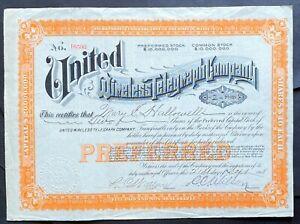 UNITED WIRELESS TELEGRAPH Stock 1908 Pres. C.C. Wilson $20MM Cap. Became Marconi