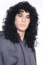 Men Handsome Black Long Curly Rock Crimped Wig Hair Wigs