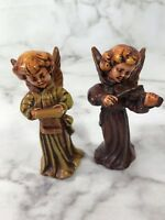 Vintage Christmas Angel Figurines Set of 2 Ceramic Holiday Home Decoration Brown