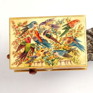 Vintage Look Decorative Hand Painted Sparrows Solid Camel Bone Trinket Box 11068