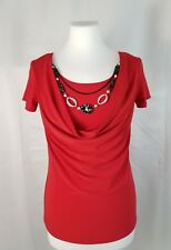 American City Wear S Red Cap Sleeve Top Draped Neckline Embellished W/ Necklace