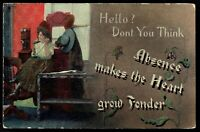 Absence Makes the Heart Grow Fonder Lady & Kellogg Telephone 1910 Postcard pc205