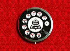 ROTARY PHONE TELEPHONE DIAL VINTAGE POP ART RETRO POCKET ROUND COMPACT MIRROR