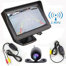 """Car Rear Back View Backup Side Front Parking 2.4G Wireless Camera + 4.3"""" Monitor"""