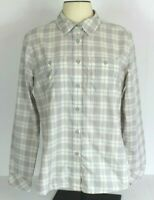 The North Face Women L Gray Pink Plaid Button Front Shirt Long Sleeve Blouse EUC