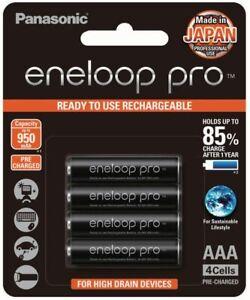 Panasonic Eneloop Pro AAA 4 x NiMH Rechargeable Batteries BLACK - Made in JAPAN