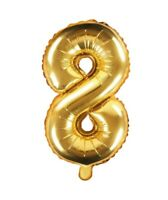 Zahlenballon Nr. 8 Gold - Geburtstags Deko Party Luft Ballon Zahl Ziffer - 35 cm