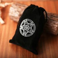 Handmade Tarot Cards Bag Drawstring Pouch Pentagram Runes Printed Velvet Black