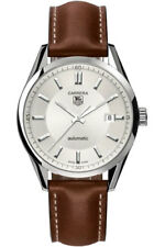 GENUINE TAG HEUER CARRERA  WV211A.FC6203 BROWN LEATHER AUTO SILVER MENS WATCH