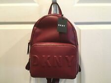 NWT DKNY Tilly Front Pocket Backpack Dark Red NEW Womens Bag Sack Stacked Logo