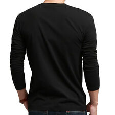 Casual Men's V-Neck Long Sleeve Slim Fit Muscle Fashion Lycra Casual T-Shirt GRO