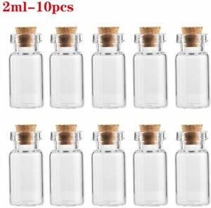 2ML Mini Tiny Clear Glass Jars Bottles with Cork Stoppers Crafts Party Favors