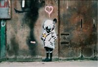 Banksy Abstract graffiti art HUGE OIL PAINTING ON CANVAS Fish Gril 20x28""
