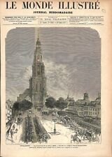 Funérailles de la Reine des Pays-Bas à Nieuwe Kerk Eglise de Delft GRAVURE 1877