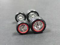 R079 Hot Wheels 1/64 SET > 5 Spoke Redline HW 10/12mm  Rubber Tires Real Riders