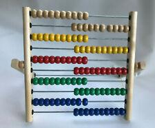 IKEA Abacus: Math Educational Toy, 100 Colored Beads, Wood Frame, EUC