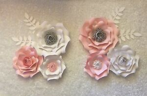 Paper Flowers set of 6 with leaves, Backdrop, Wedding, Nursery, Pink & white