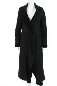 DKNY Pure Womens Suede Shearling Long Coat Black Size Small
