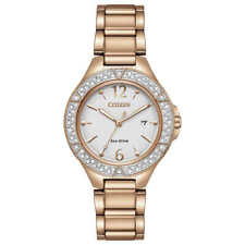 Citizen Ladies Fe1163-56a Eco-drive Crystal Accented Rose Gold Tone Watch
