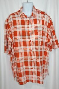 TRUST Men's Shirt Short Sleeve Orange White Plaid Linen Button Up Camp 2XL XXL