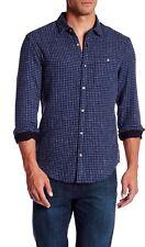 NWT Original Penguin Space Dye Check Heritage Slim Fit Shirt XXL Dark Sapphire