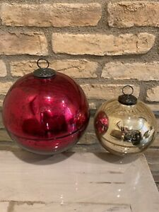 Pottery Barn Ornament Candle Large Red Medium Gold Christmas Decor Candle Pot